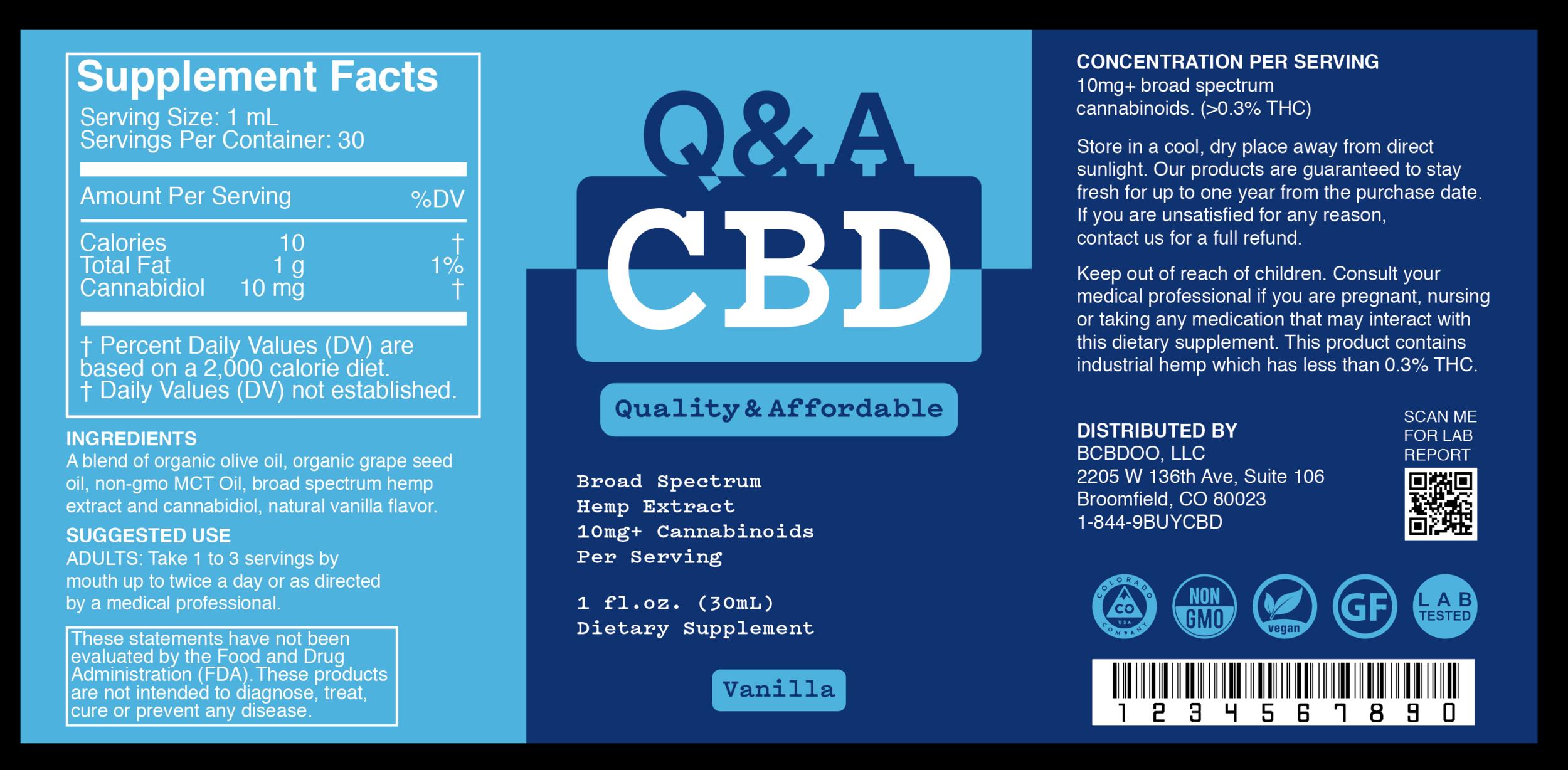 Q&A CBD Vanilla Label.