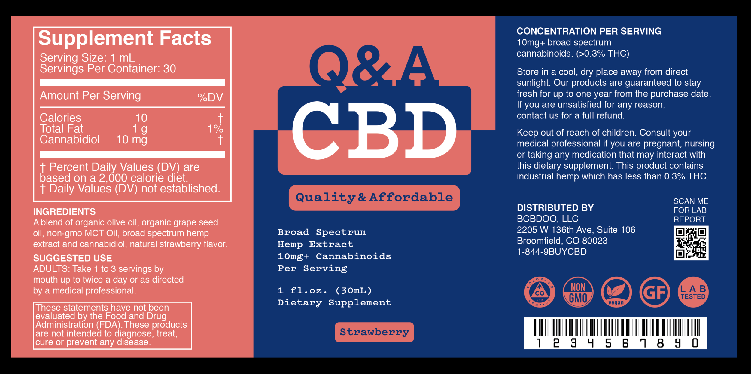 Q&A CBD Strawberry Label.
