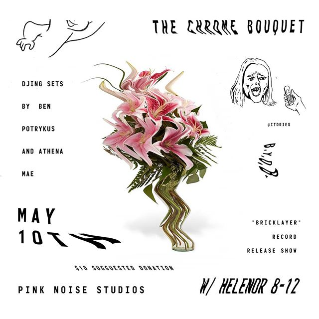 TONIGHT! . . . . . . . . . . #thechromebouquet #tcb #helenor #pinknoise #ben #athena #djculture #scratching #hardwax #wurlitzer #fenderstratocaster #zildjian #livemusic #recordrelease #vinyl #spotify