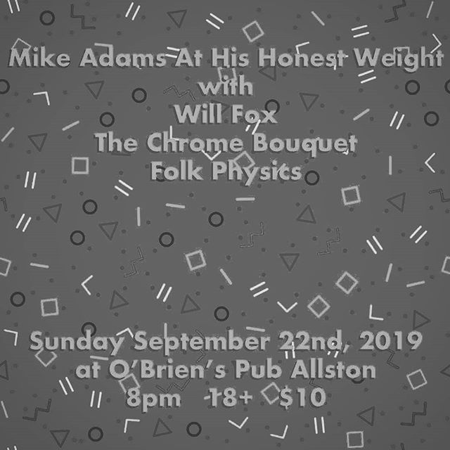 Sunday we are playing with @mikeadamsathishonestweight from Bloomington, Will Fox from LA, @folk.physics from Boston. We are from Quincy, MA, the City of Presidents. . . . . . . . . #livemusic #bostonmusic #thechromebouquet #croonerpop #sunday #allston #bricklayer #wurlitzer200 #fenderstratocaster