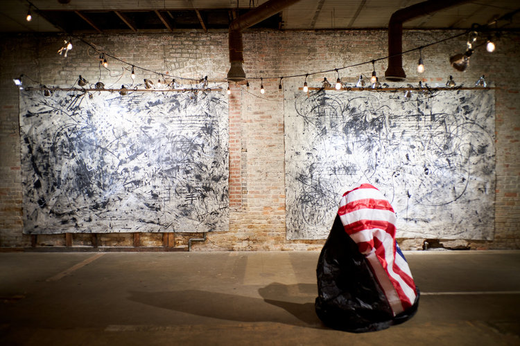 Ol' Glory, Ol' Apologies - The works featured in the exhibition Ol' Glory, Ol' Apologies delves into American ideas of self-awareness, global identity and altered histories behind the repeat offenses of American stereotypes.