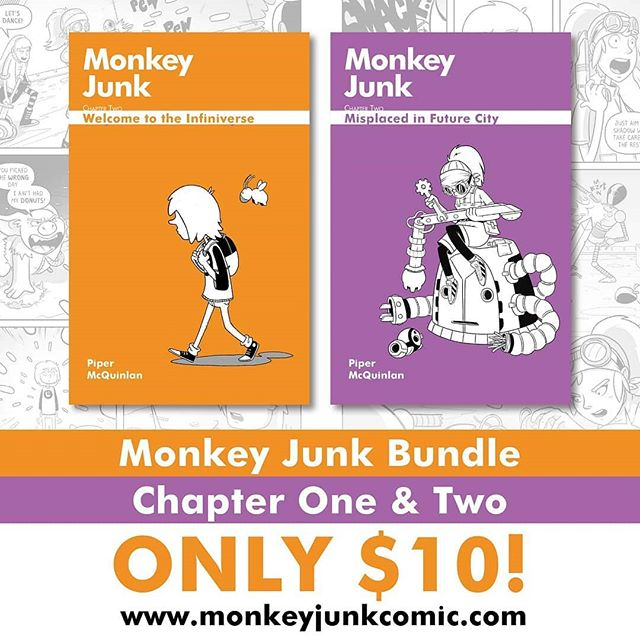 Monkey Junk is on Sale! Get the first two chapters for only $10  OR if you like limited edition goodies, you can grab the limited alt covers for only $16 (normally $10 EACH) Grab a saving. Support Local. Get a good read! Go to www.monkeyjunkcomic.com/store to order now.