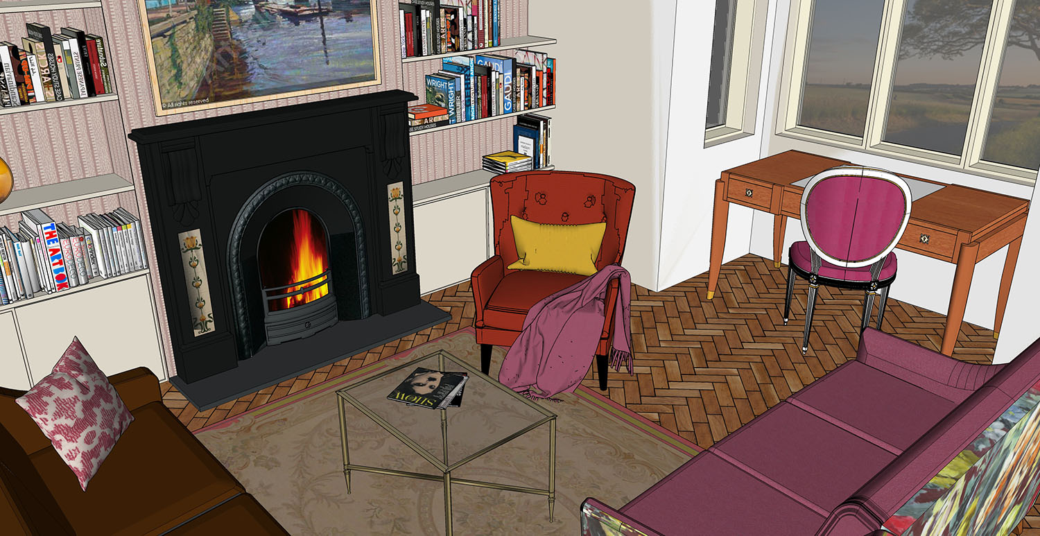 Cosy sitting room with writing desk