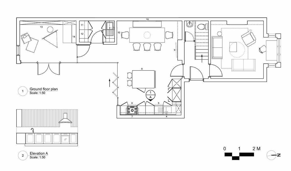 Ground floor plan and kitchen elevation