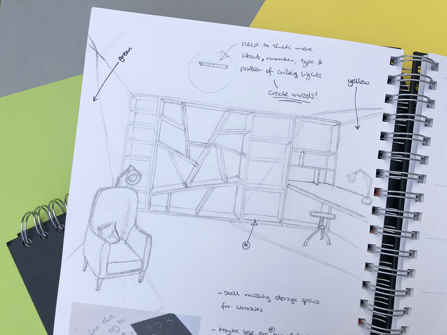 Sketch of bespoke fitted storage wall in the Art Studio