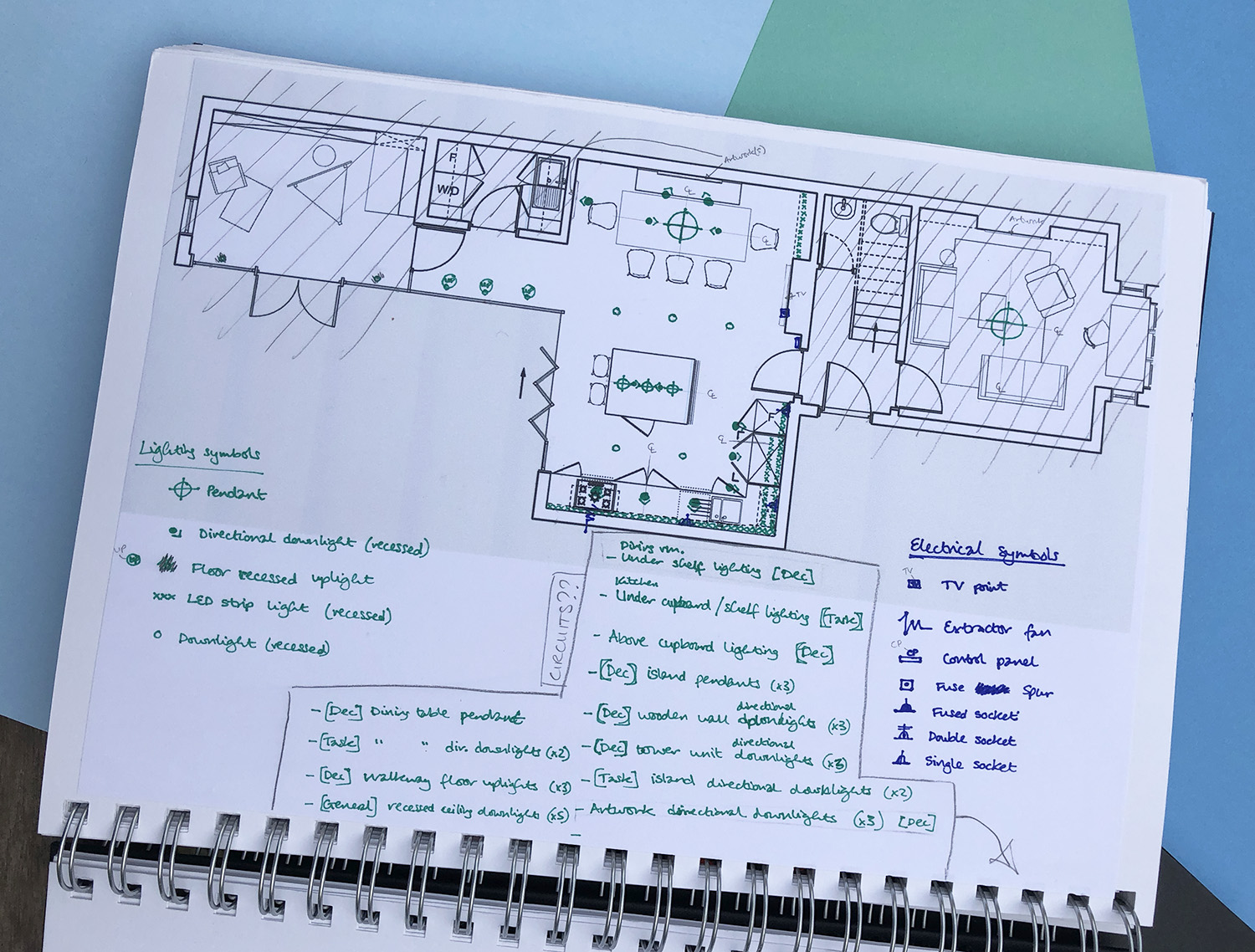 Technical drawing, lighting and electrical plan