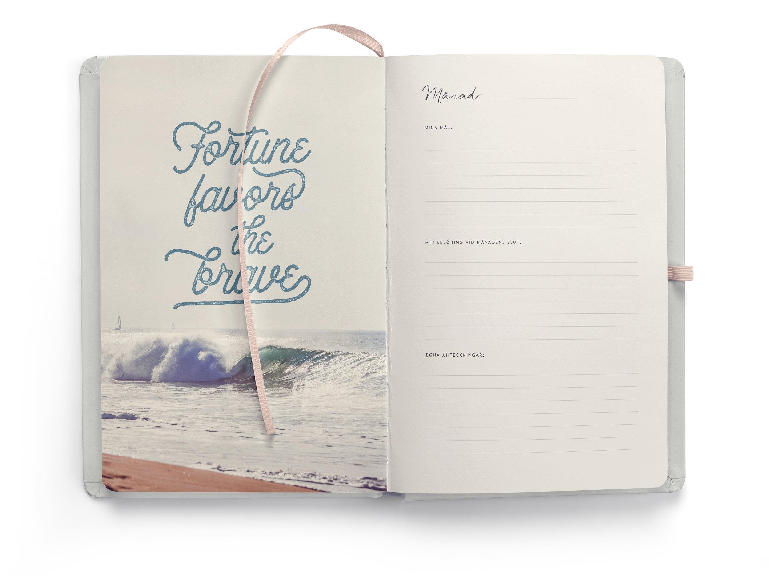 Varje månad börjar med en sida där du kan skriva ner några övergripande mål du skulle vilja nå innan månaden är slut. Här får du även i uppdrag att tänka ut en belöning du ska ge dig själv i slutet av månaden. Det behöver inte vara något stort, bara det är en morot för att komma närmare dina mål. Belöningen är en viktig rituell bekräftelse på vad du har åstadkommit under månaden.