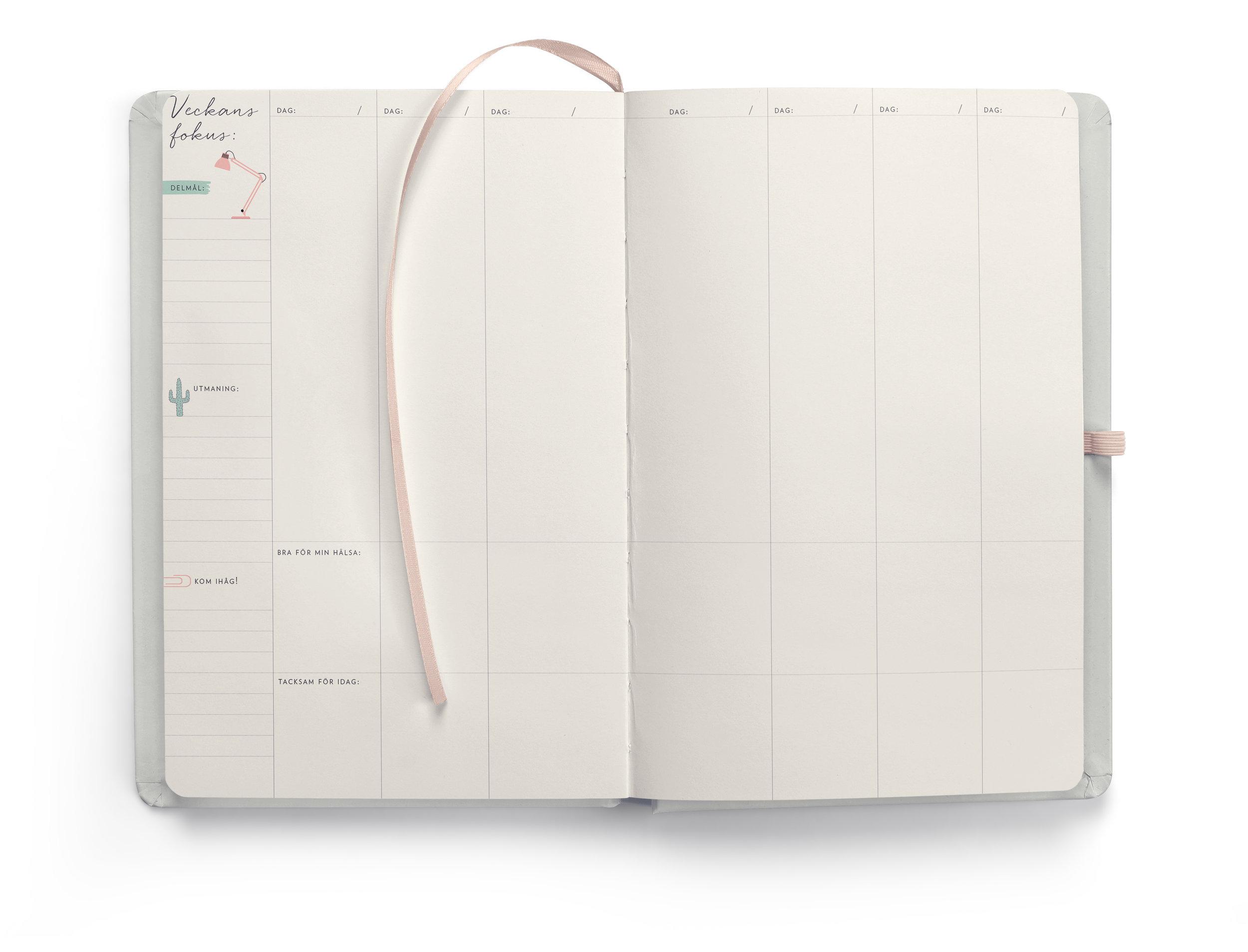 Varje vecka har sitt eget uppslag. Här listar du det du vill fokusera på under veckan; delmål och prioriteringar som behövs för att uppnå månadens övergripande mål. På varje veckouppslag har du möjlighet att skriva ner en eller flera utmaningar du vill ge dig själv under veckan. Något som kräver att du anstränger dig, men som du vet skulle ge dig mycket tillbaka.  Till varje dag hör även en ruta där du kan fylla i vad du har gjort för din hälsa och vad du varit tacksam för under dagen. Genom att uppmärksamma de små sakerna, som du faktiskt får in i din vardag varje vecka, så ger du dig själv en  boost  i rätt riktning.