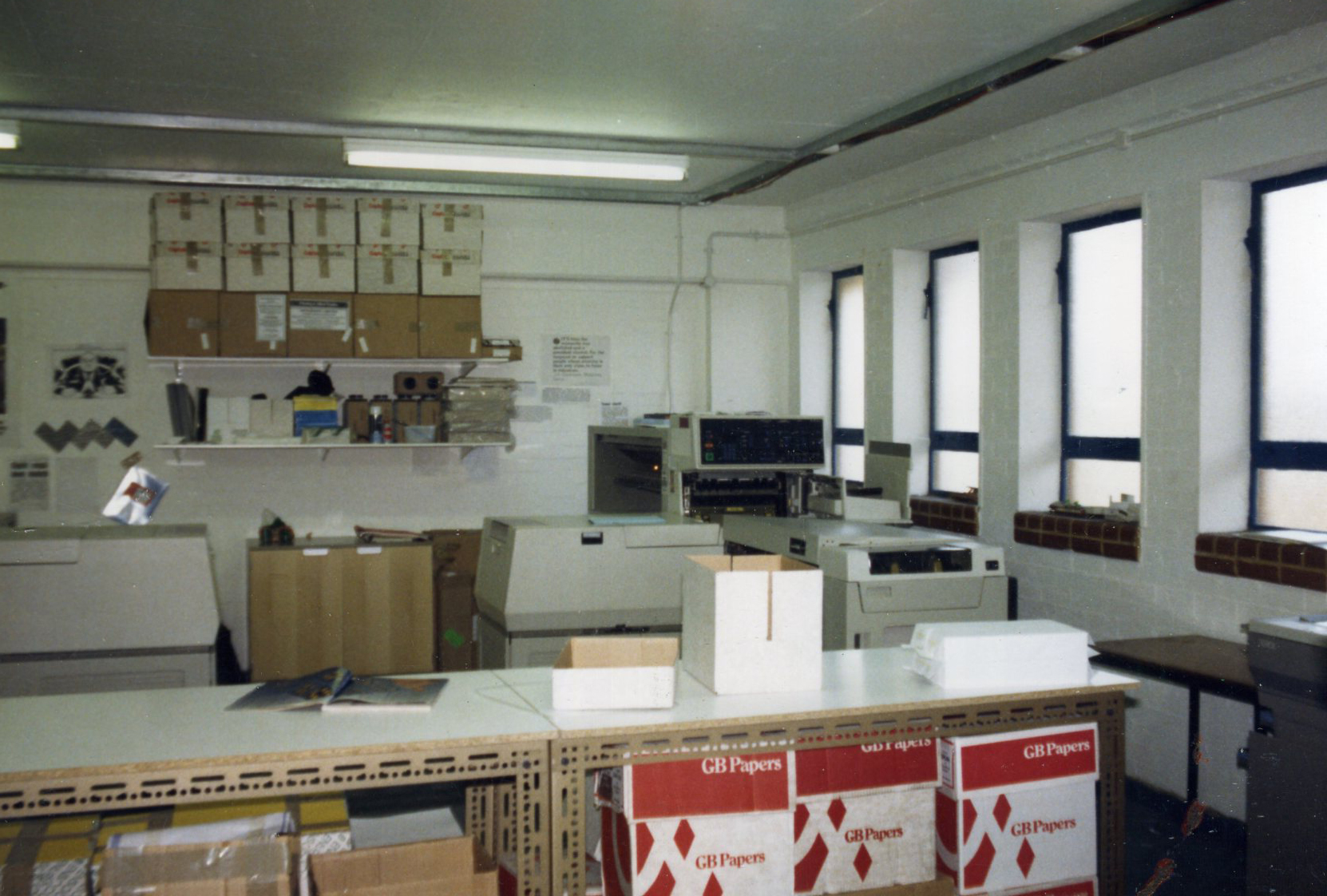 Our first factory circa 1987. Early Xerox digital presses in the background.