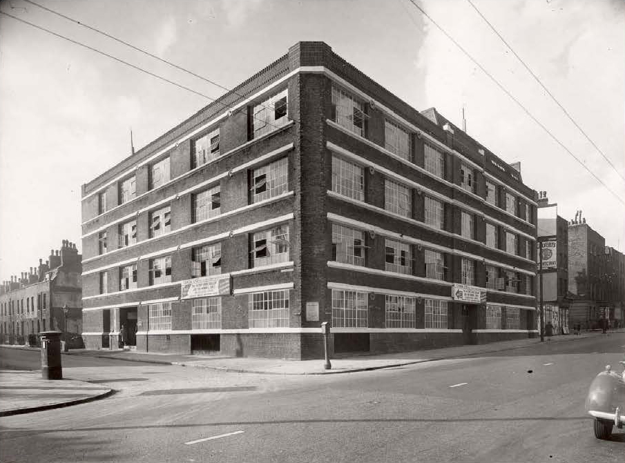 Citybridge House, then called Rubella House, built for C&A to manufacture clothes. Tram lines can be seen running above Goswell Road. Circa 1950.