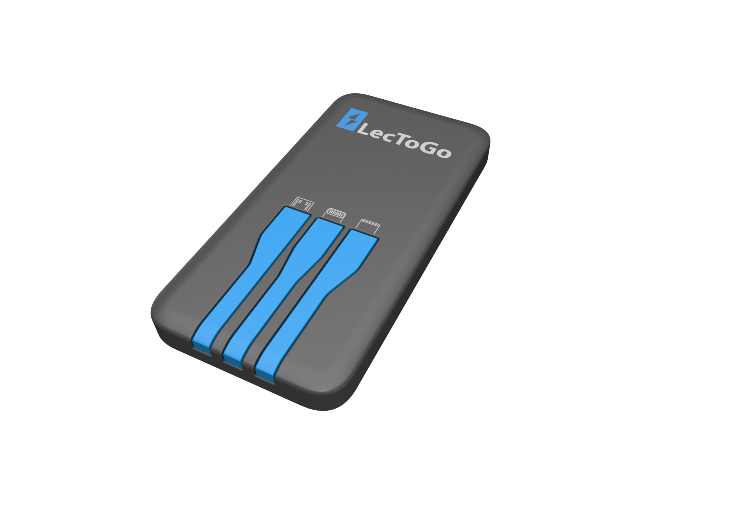The power bank - Cables: USB-C, Micro USB, Lightning (Certified)Battery capacity: 5000mAh