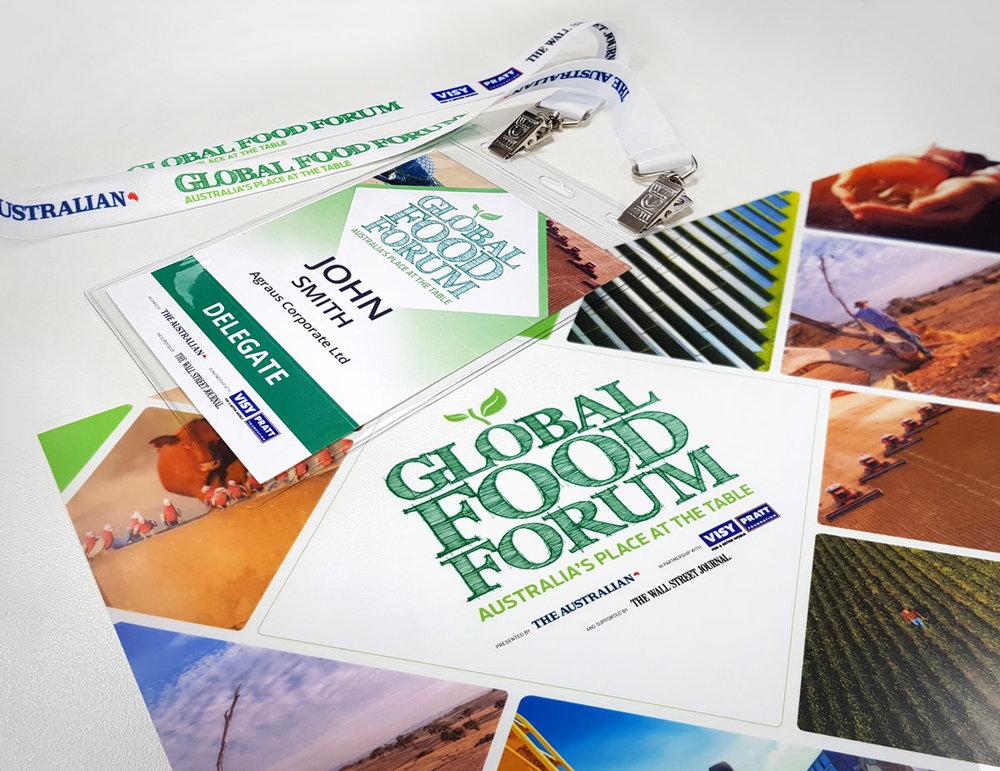 Global Food Forum design package decal kiosk name badge