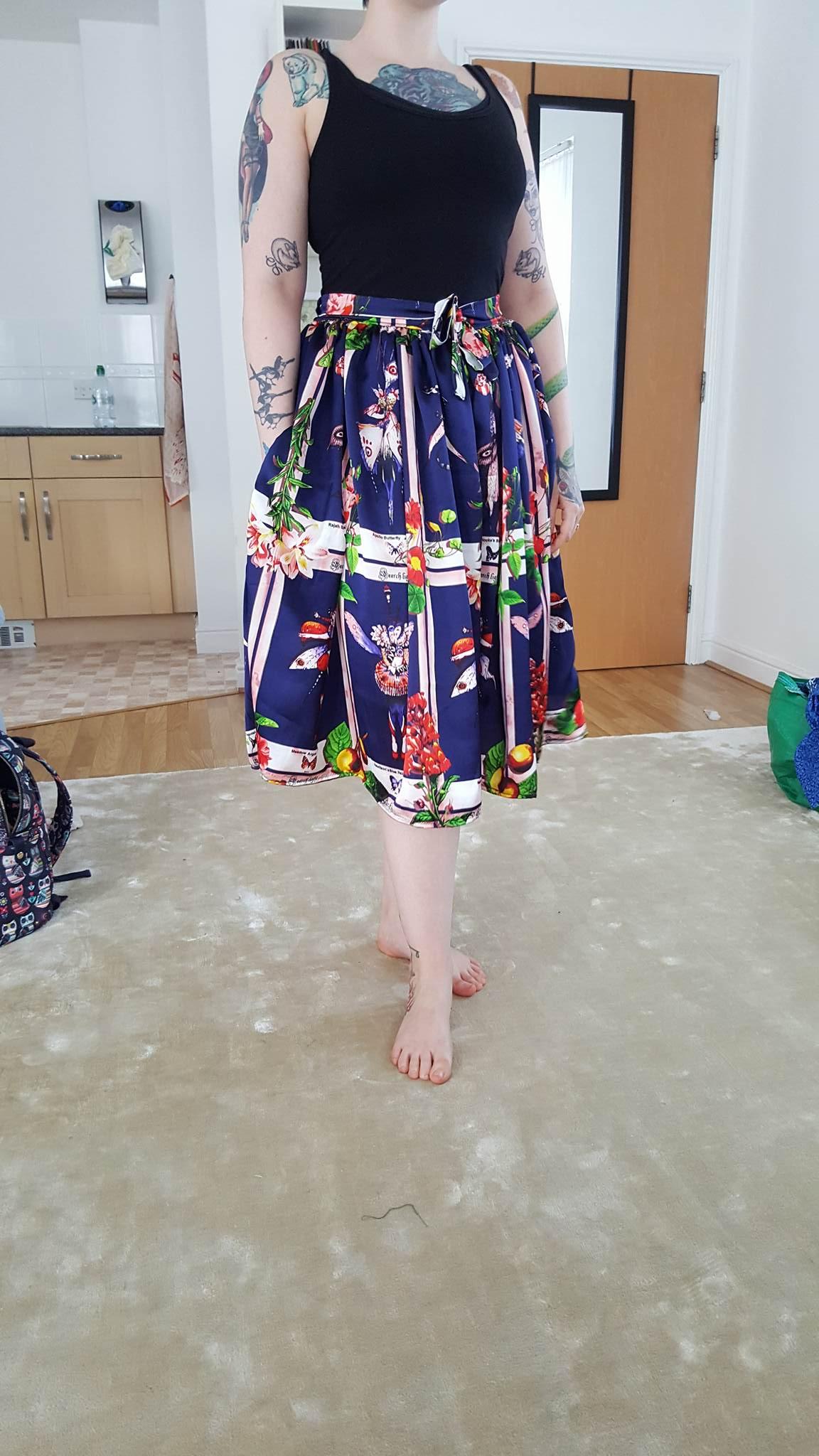 Gathered silk skirt