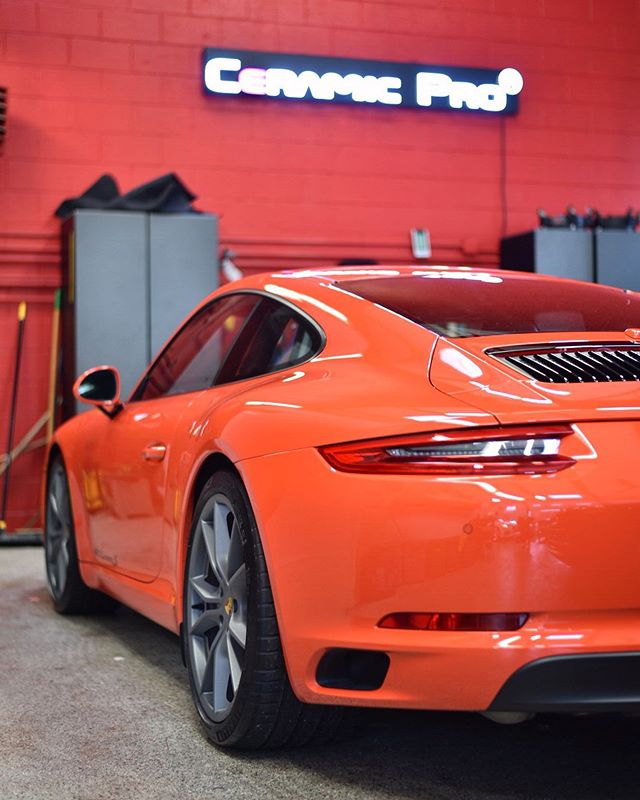 Nothing like that @ceramicpro gloss 😍. This 911 received the best of the best, our Ceramic Pro Platinum package. The deep shine, non-stick hydrophobic surface will last for a lifetime, so this client never has to think about waxing his car again!