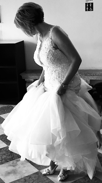 Tina in her own gorgeous Sottero & Midgley Wedding dress looking extremely happy and ready to meet her Husband to be in the beautiful and stunning location of Venice, Italy!