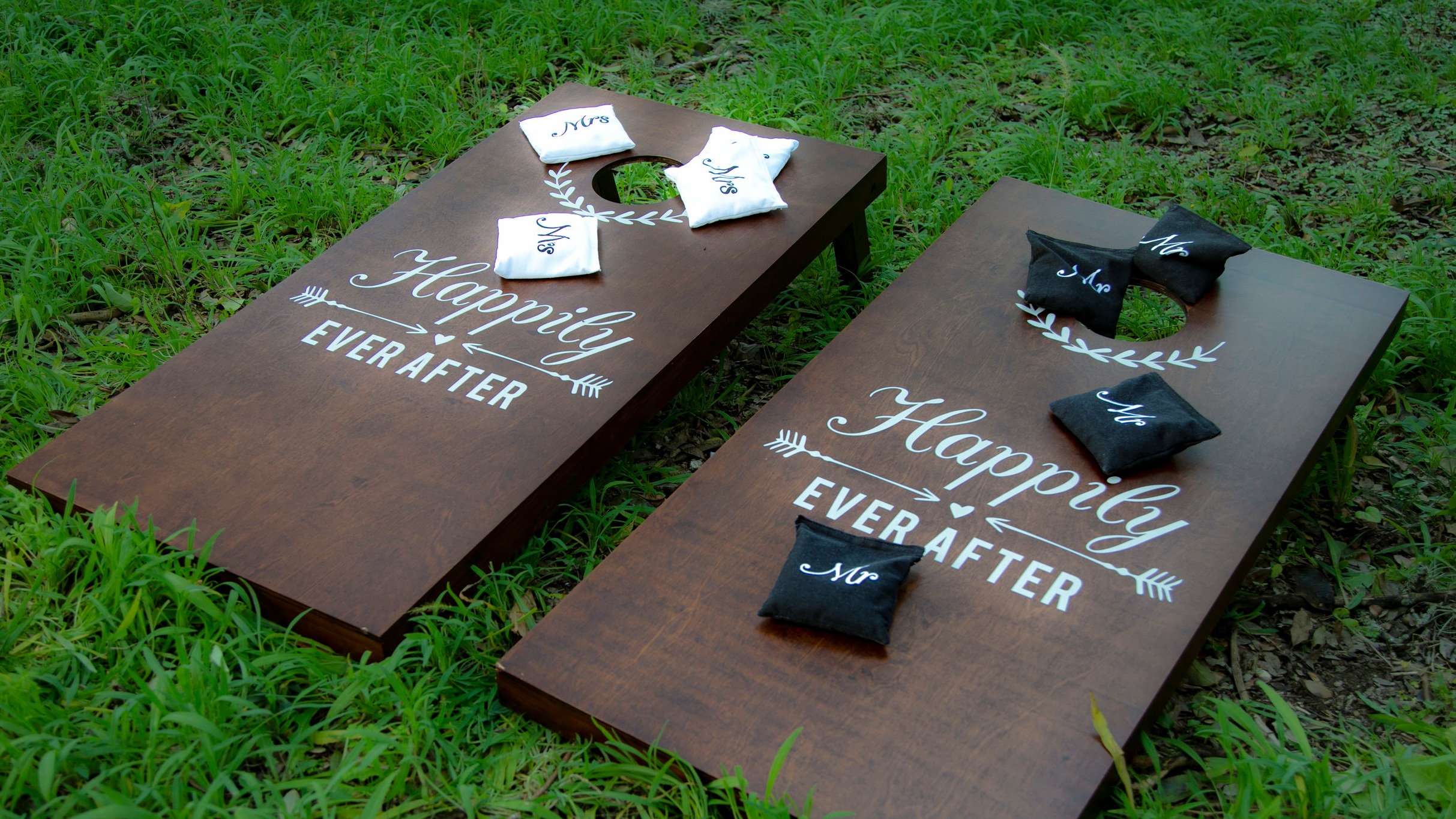 Wedding Themed Wooden Corn Hole Game  Rental price: $50.00