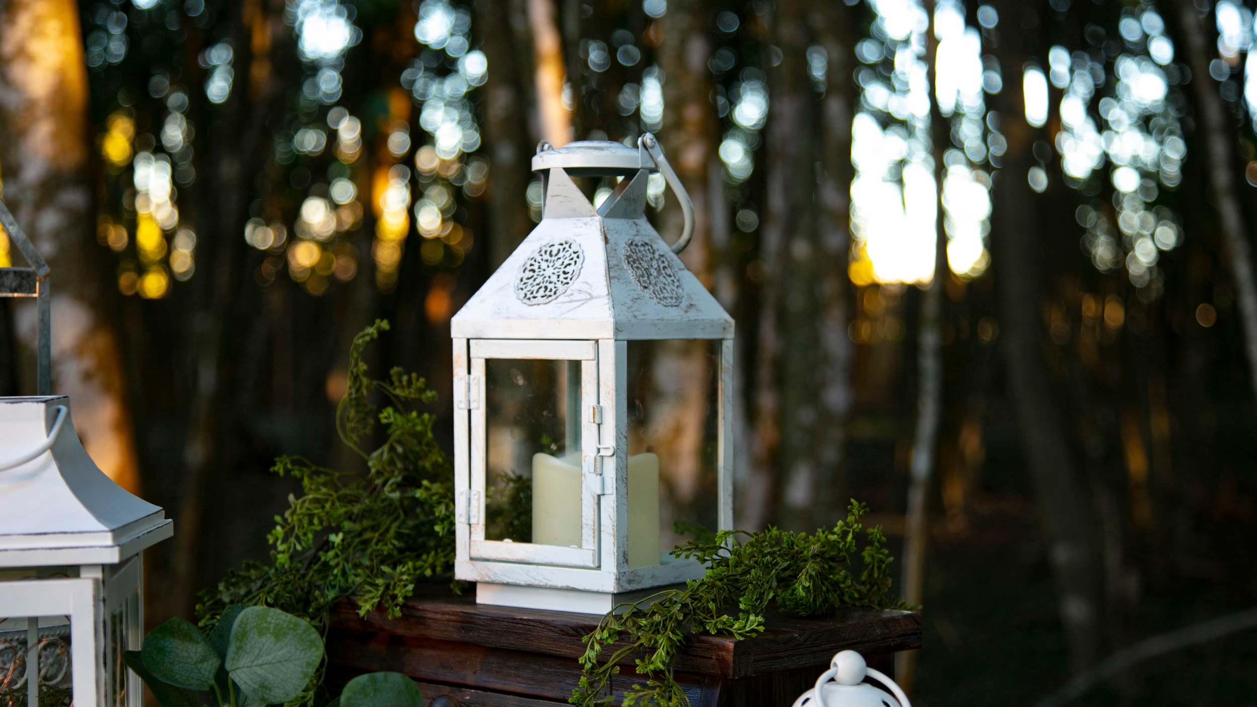 White Metal Lanterns (gold brushed)  Qty: 6  Rental Price: $15.00 each / $50.00 for all 6