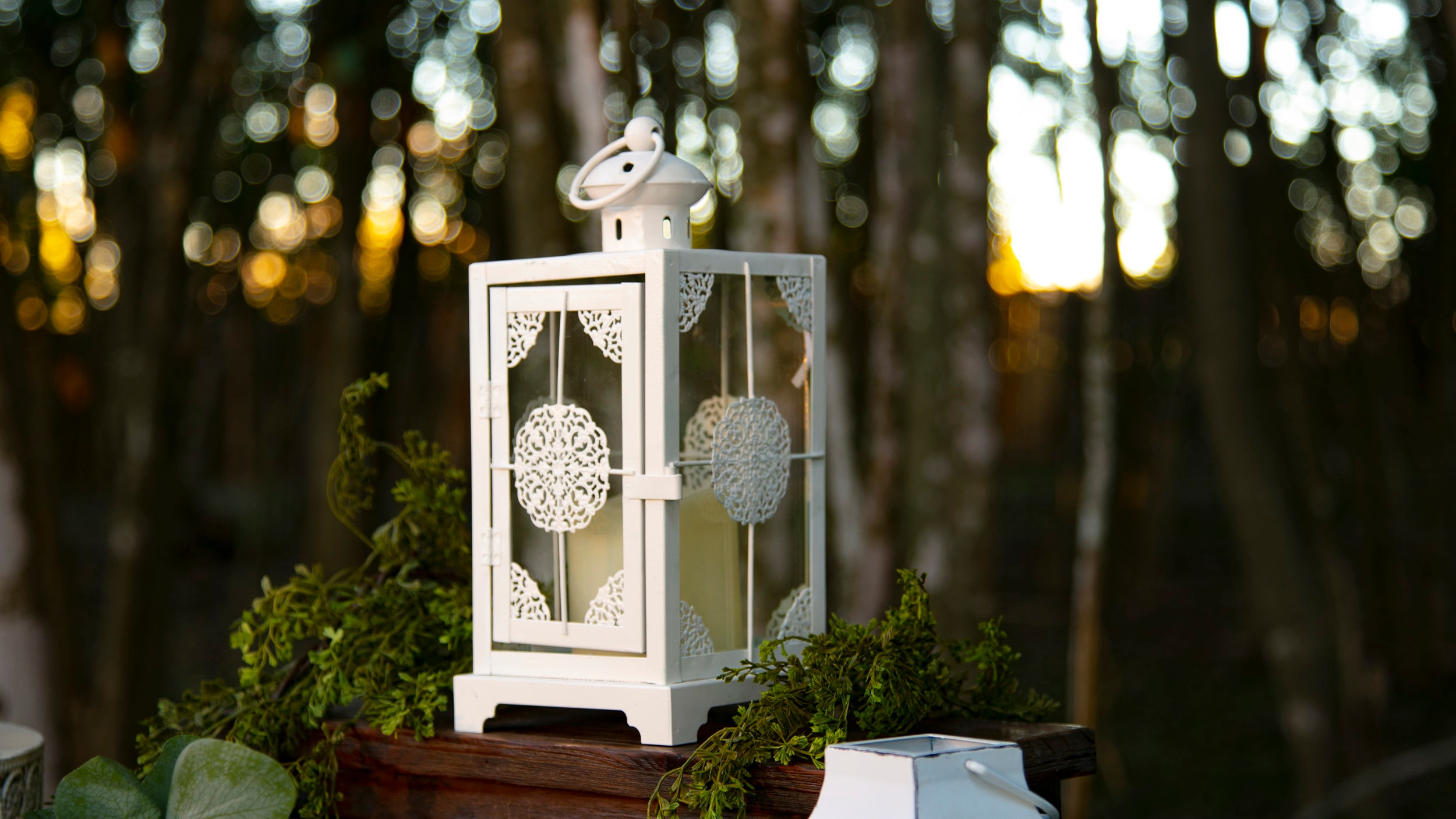 White Metal Lanterns (embellished)  Qty: 2  Price: $$15.00 each / $25.00 for both