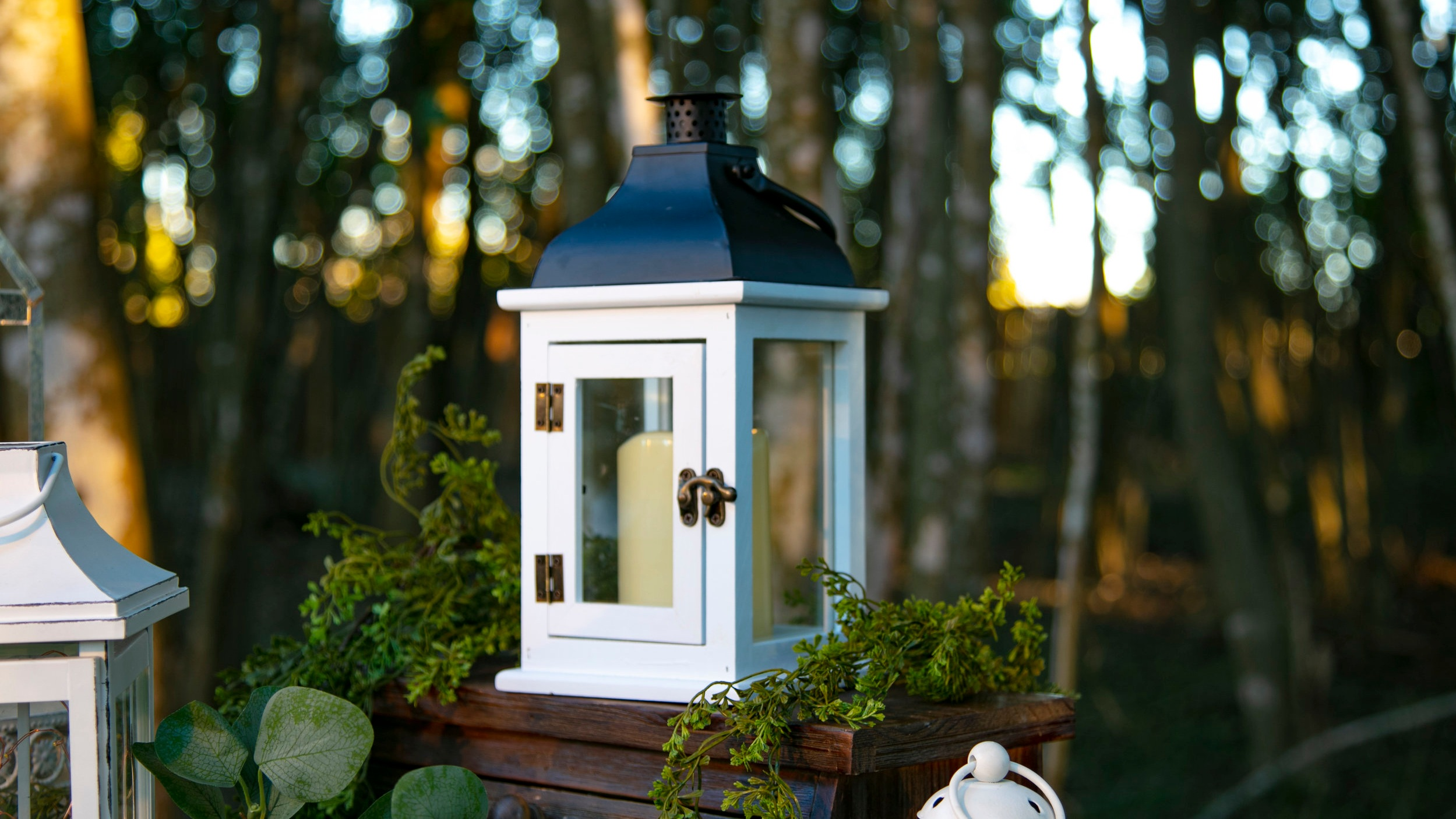 White Wooden Lanterns with Metal Black Top  Qty: 2  Price: $15.00 each / $25.00 for both