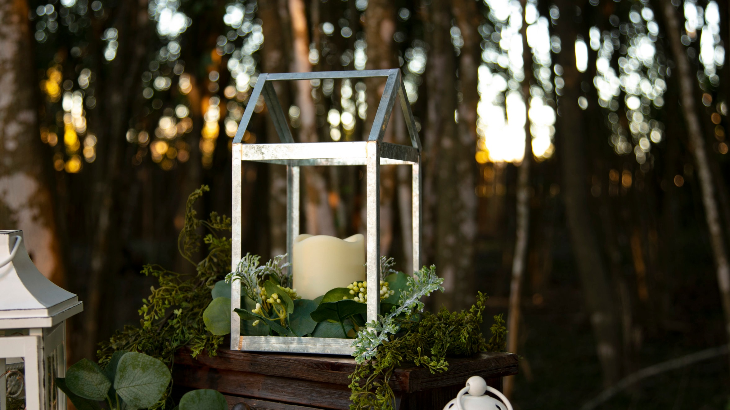 Galvanized Metal Lantern with Greenery and LED Candle  Qty: 10  Price: $15.00 each O/ $100.00 for all 10