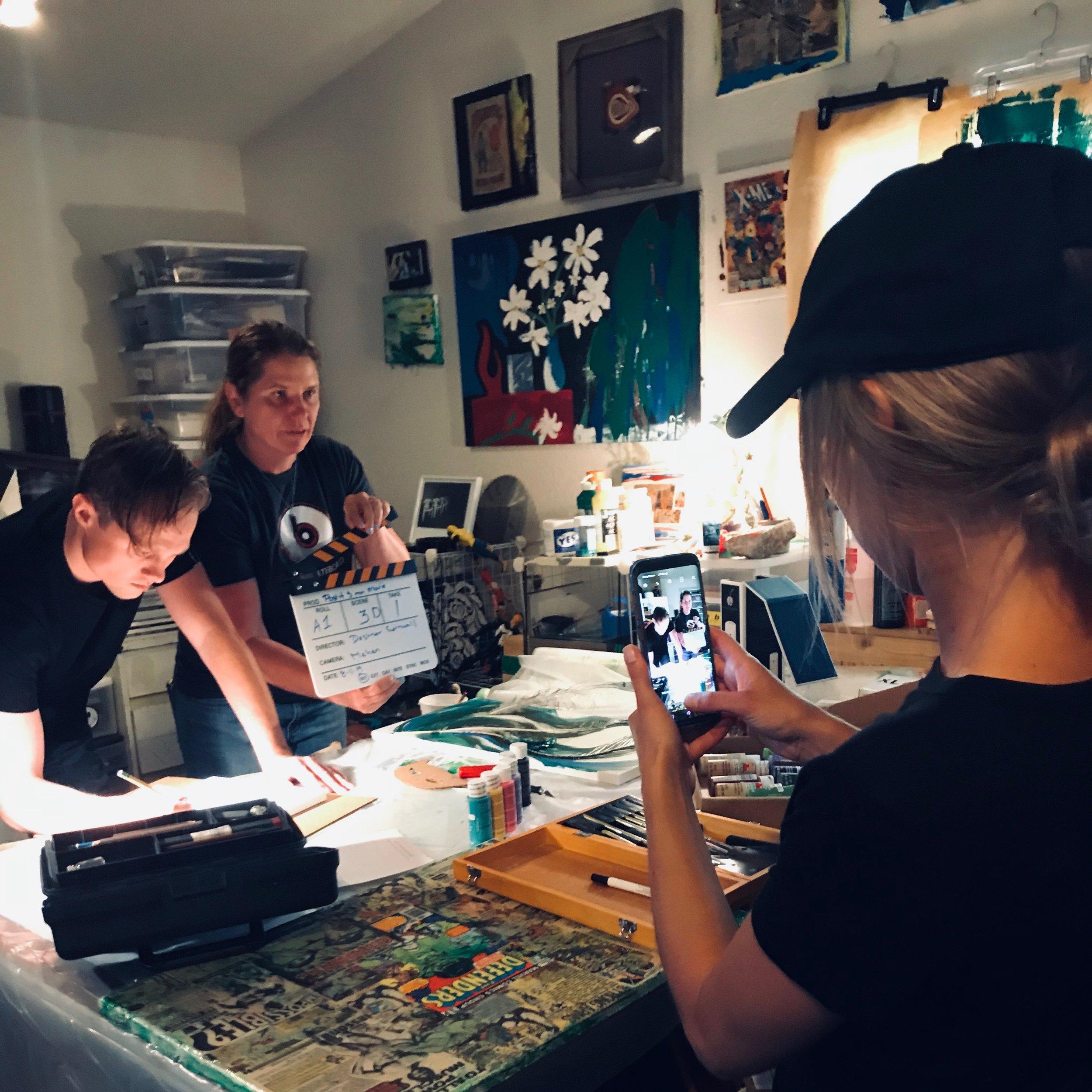 On the set of Post iT: Episode 2. From left to right - Austin Von Johnson, Erica Deshner Cornwall, Christina Lane Hawkins