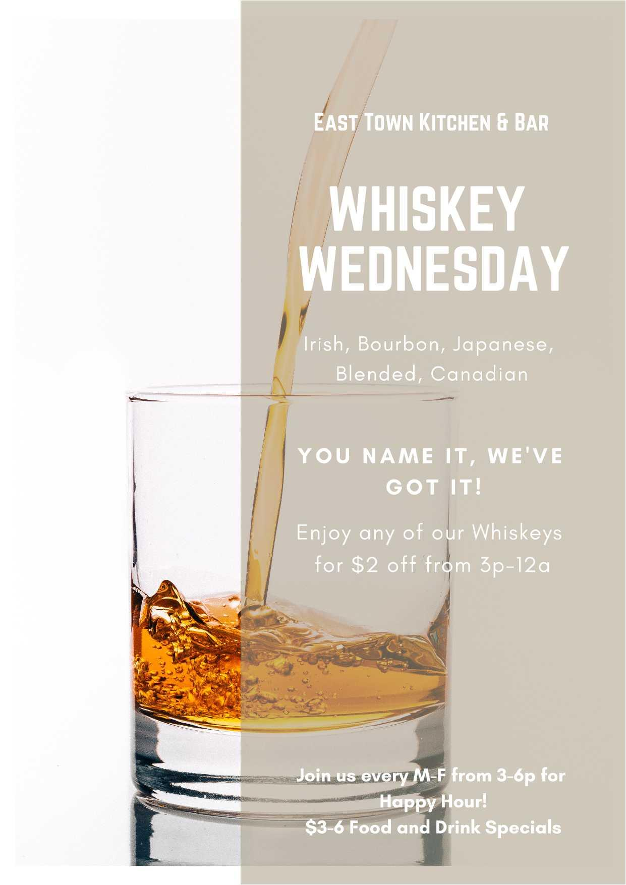 Whiskey Specials on Wednesday at East Town Kitchen & Bar