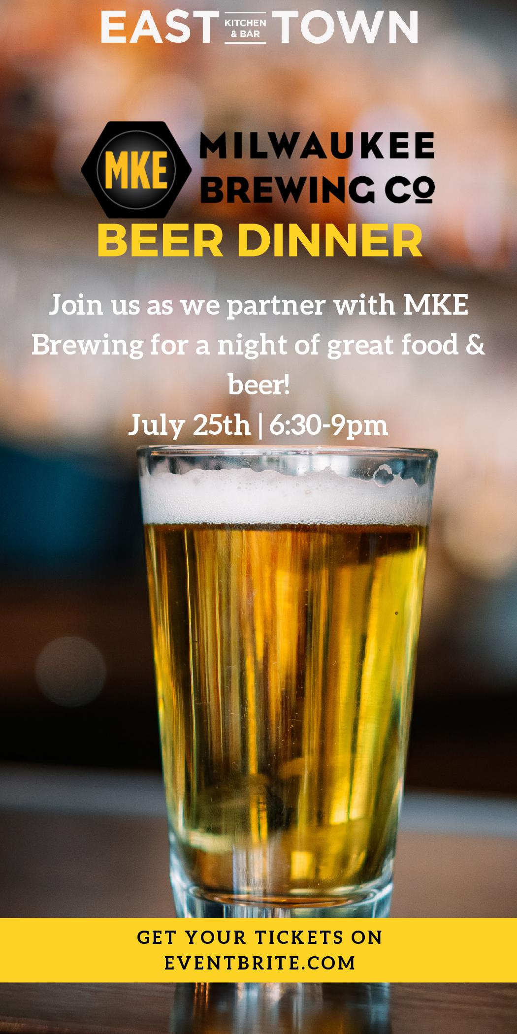 MKE Beer Dinner paired with East Town Kitchen & Bar food