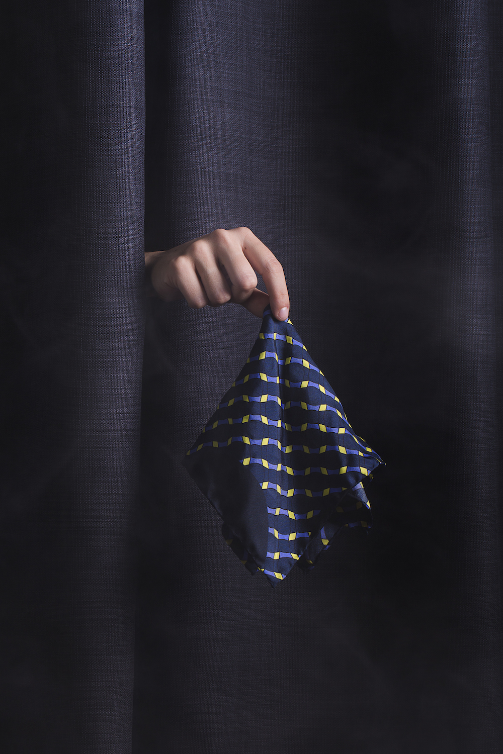 Hand-rolled 100% silk pocket square with Marivot's signature pattern, made in Italy.