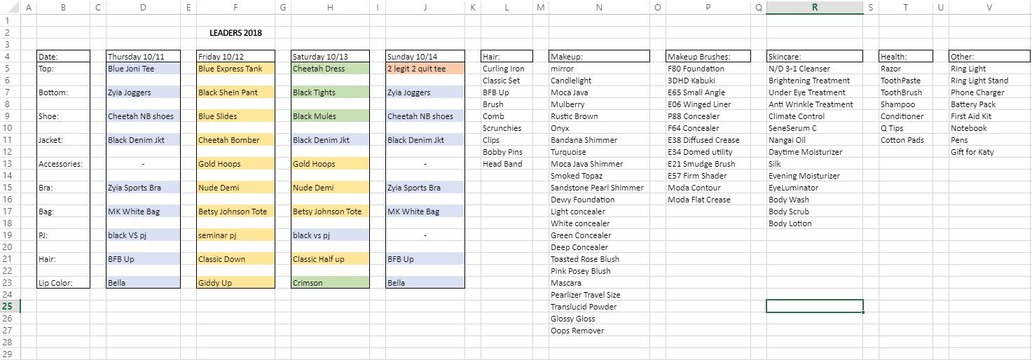 Packing Spreadsheet