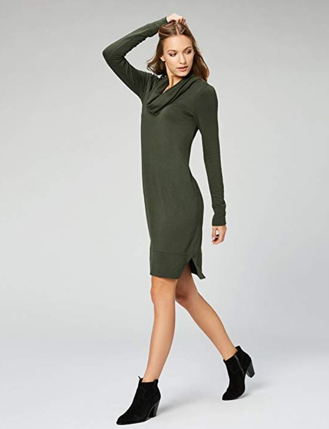 Daily Ritual Women's Supersoft Terry Long-Sleeve Cowl Neck Dress (Linked!)