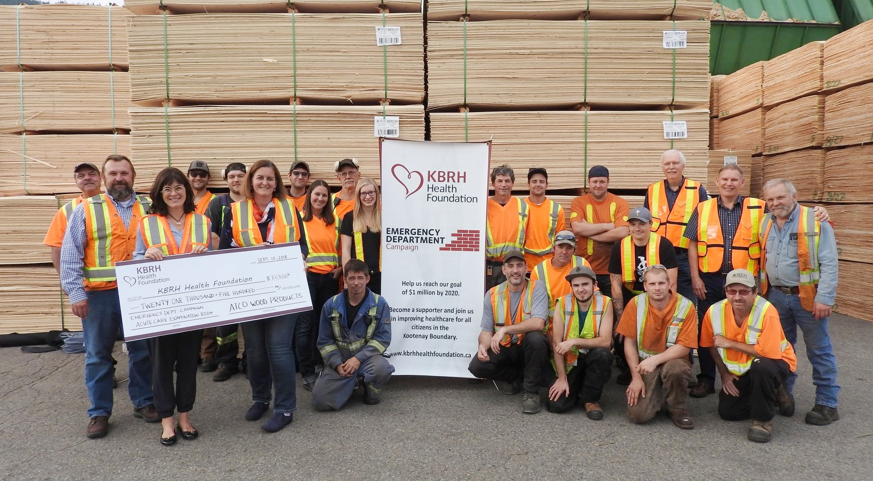 The KBRH Health Foundation has received $21,500 from ATCO Wood Products Ltd. for the Emergency Department Campaign.