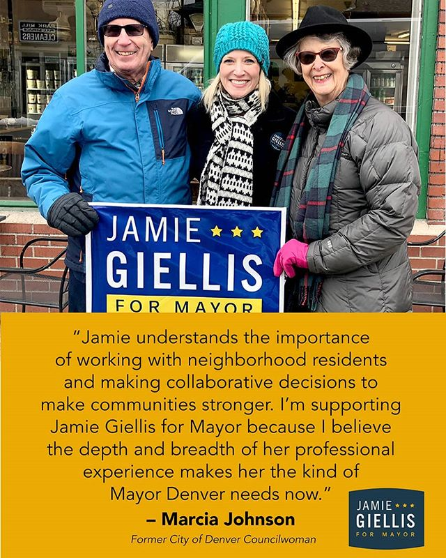"I'm with Jamie! Former Denver City Councilman Marcia Johnson endorses #jamie4mayor - - ""Jamie Giellis understands the importance of working with neighborhood residents and making collaborative decisions to make communities stronger.  I support Jamie Giellis for Mayor because I believe the depth and breadth of her professional experience makes her the kind of Mayor Denver needs now."" - - - #alltogethernow #puttingpeoplefirst #denvermayor #denvermayor2019 #denver"