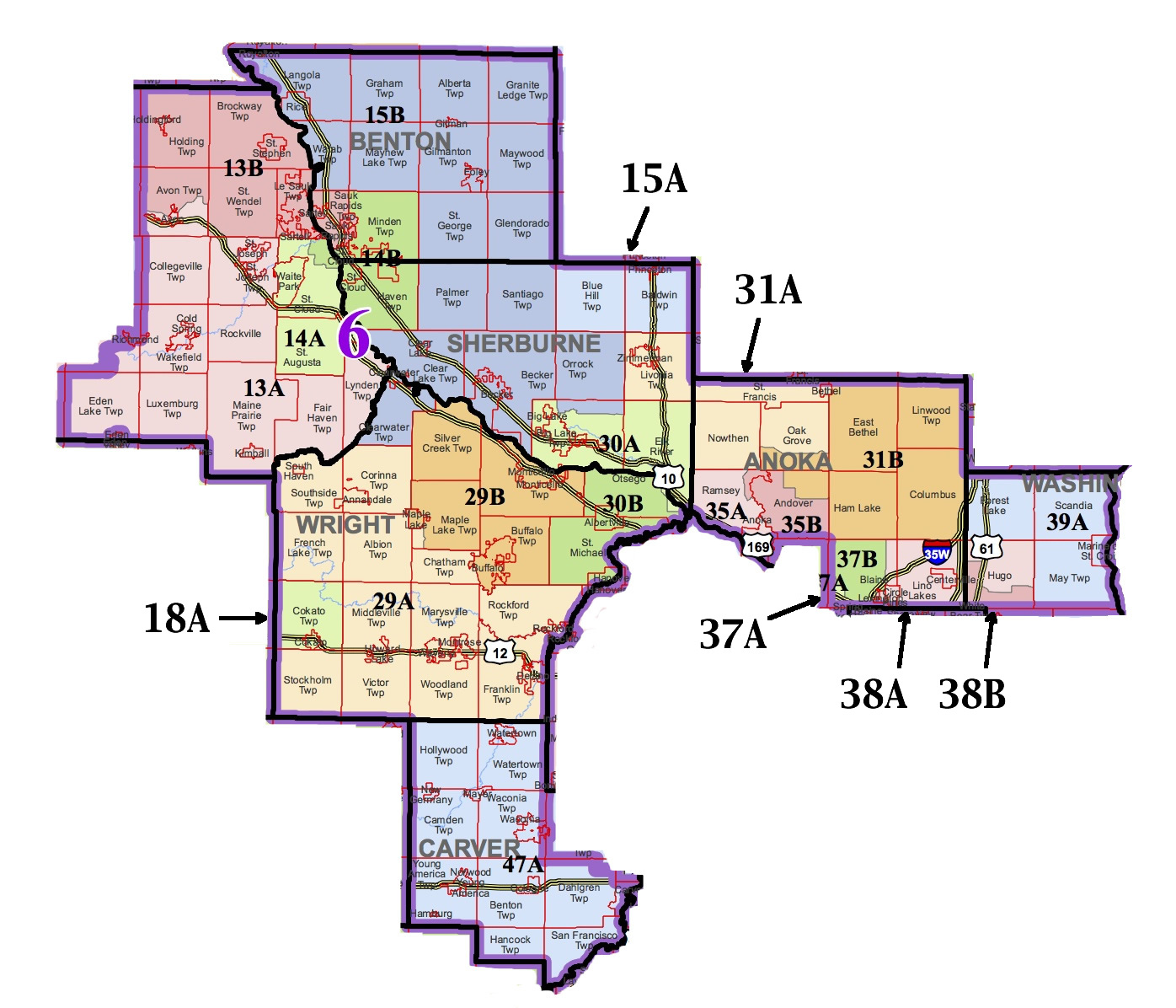 6th Congressional District - Albertville, Andover, Annandale, Anoka, Avon, Becker, Big Lake, Blaine, Buffalo, Carver, Circle Pines, Clear Lake, Clearwater, Cokato, Cold Spring, Cologne, Columbus, Coon Rapids, Delano, East Bethel, Elk River, Foley, Forest Lake, Ham Lake, Howard Lake, Hugo, Kimball, Lino Lakes, Maple Lake, Marine on St. Croix, Monticello, Montrose, Norwood Young America, Oak Grove, Oak Park, Otsego, Ramsey, Rice, Richmond, Rockford, Rockville, Sartell, Sauk Rapids, Scandia, Silver Creek, St. Augusta, St. Cloud, St. Francis, St. Joseph, St. Michael, Two Rivers, Waconia, Waite Park, Watertown, Zimmerman.