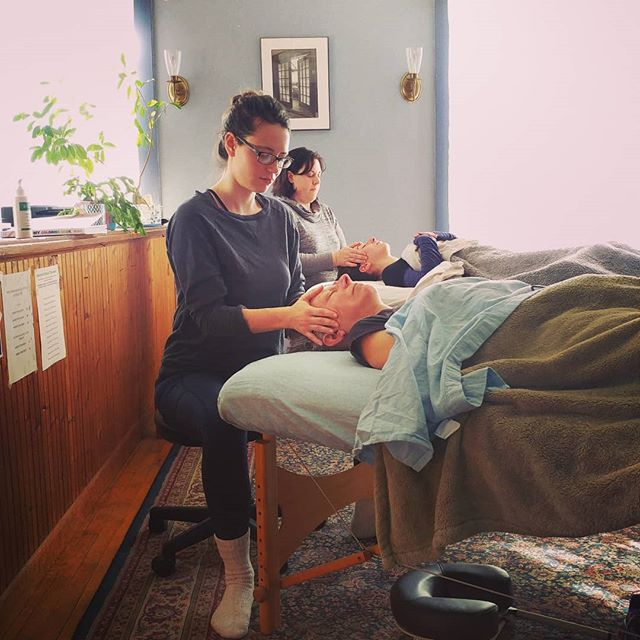 Half of our students are learning the head, face and neck Swedish massage sequence today while the other half of class is learning Reiki I. 🙌 #wellnessmassagecenter #wellnessmassagevt #massageschool #massageclassisthebestclass #swedishmassage #reiki