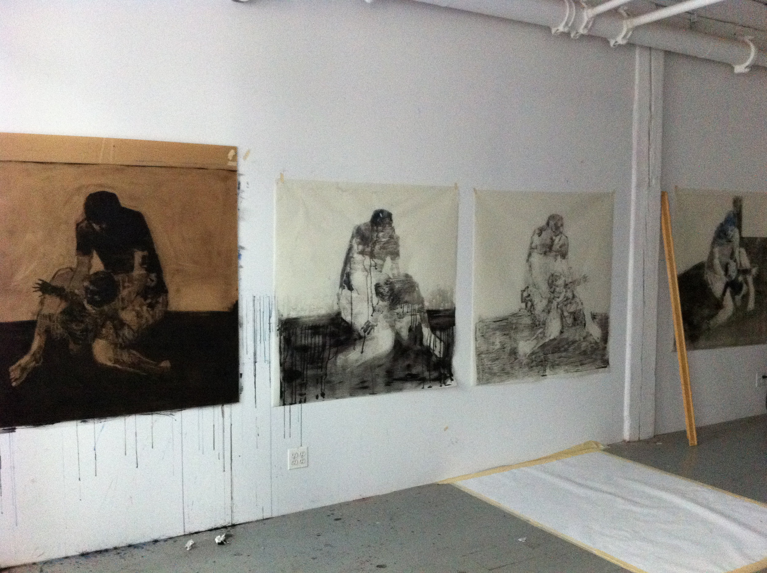 snapshot of the studio with monotypes in the making, 2014