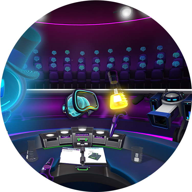 Virtual Classroom - Virtual lesson that places a teacher & students in a shared VR environment to boost understanding of concepts through 3D visualization & interaction.