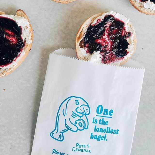 We built roughly 99% of the @petes_general brand around a fictional manatee named Pete. Catch him on nearly everything in the shop from individual bagel bags to menus, postcards, t-shirts and more. (Photo by @theurbancanningco)