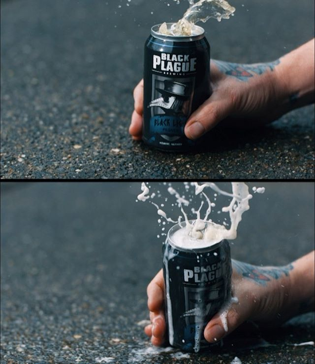Top or bottom? The only difference was shaking up the can first ➡️ swipe to see full screen. More in stories... this is one I never posted from a micro shoot with @blackplaguebrewing me and @sarafaithphotography went outside on an overcast day threw up a 2k LED for some backlight and slammed the can on the ground. It wasn't super epic so I shook the next can up before slamming it. Which do you like better? Don't always overthink your shots. Some shots need to be super technical others don't. It's ok to experiment and try weird things that may or may not be cool you never know until you see it through the lens. . . . #commercial #production  #slowmotion  #liquidstylist #phantomflex #director #camerasetup #directorofphotography #dop #film #filmmaking #gearporn #filmfeed #cameraporn #cameramayhem #filmrev #motivationmondays #behindthescene #filmlife #lovehighspeed  #cinematography #beerme #blackplaguebrewing #cinematographer #phantomhdgold  #filmakrs #filmschool #filmlife🎬 @filmmakersworld @filmmkrs  @movie.effects.vfx @nobsfilmmaking @mikemarasco @filmsetobjects