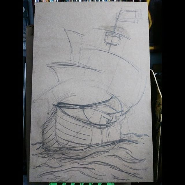 New 3×4 needs to be done in 2 days. Pray4me. . . . . . . . . #colonialism #wip #california #trump #Columbus #ship #tattoo #anchor #old-fashioned #sea #traditional #wip #jacoubreyes #jacoubreyesart