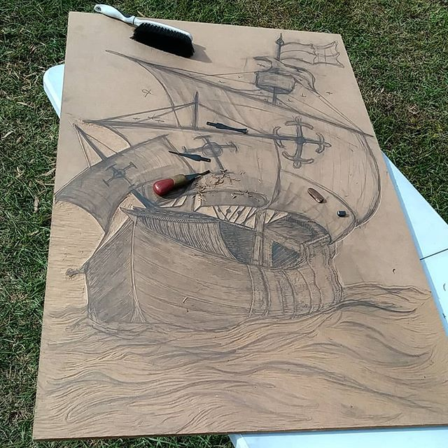 Progress. . . . . . . . . #jacoubreyes #jacoubreyesart #ship #trump #confederate #war #love #history #blm #Columbus #colonialism #seafair #knots #sea #ocean #sails #large #woodblock #cut #woodcut #cuba #puertorico #island #landofthefree #race