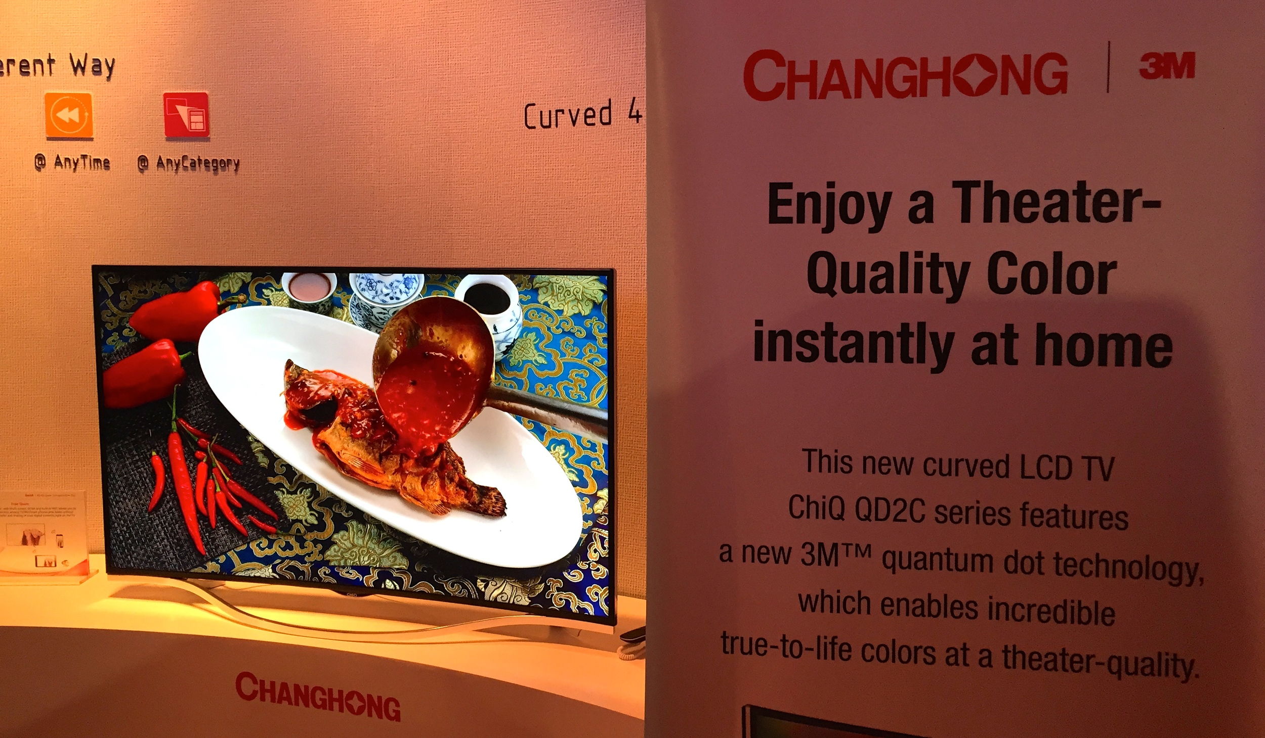 Changhong is bringing a theater quality color experience to the home with thiscurved UHD TV featuring Quantum Dot technology from Nanosys and 3M.