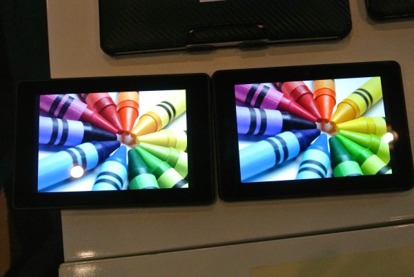Kindle Fire HDX 7 with QDEF (right) is tuned to give better color gamut and much better power consumption.