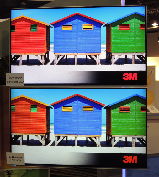 3M featured its quantum dot film (QDEF) from Nanosys in several demos at CES 2014. An LCD TV equipped with it is at the top of the picture.
