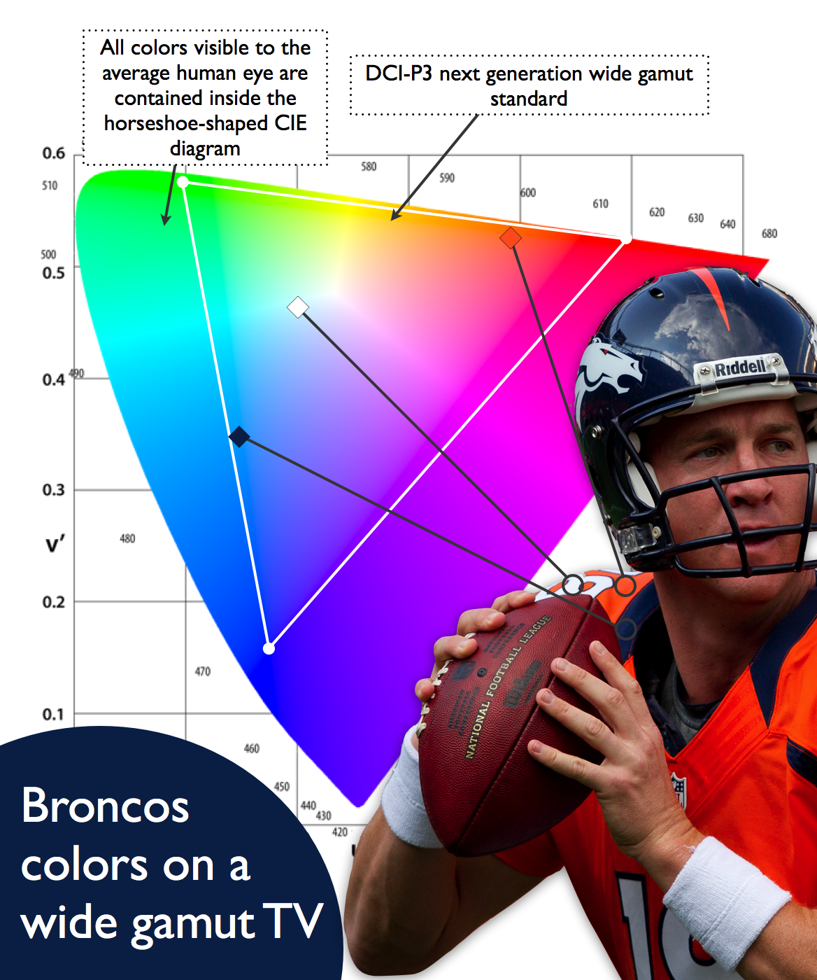 NFL Broncos team colors mapped against wide gamut DCI-P3 color gamut