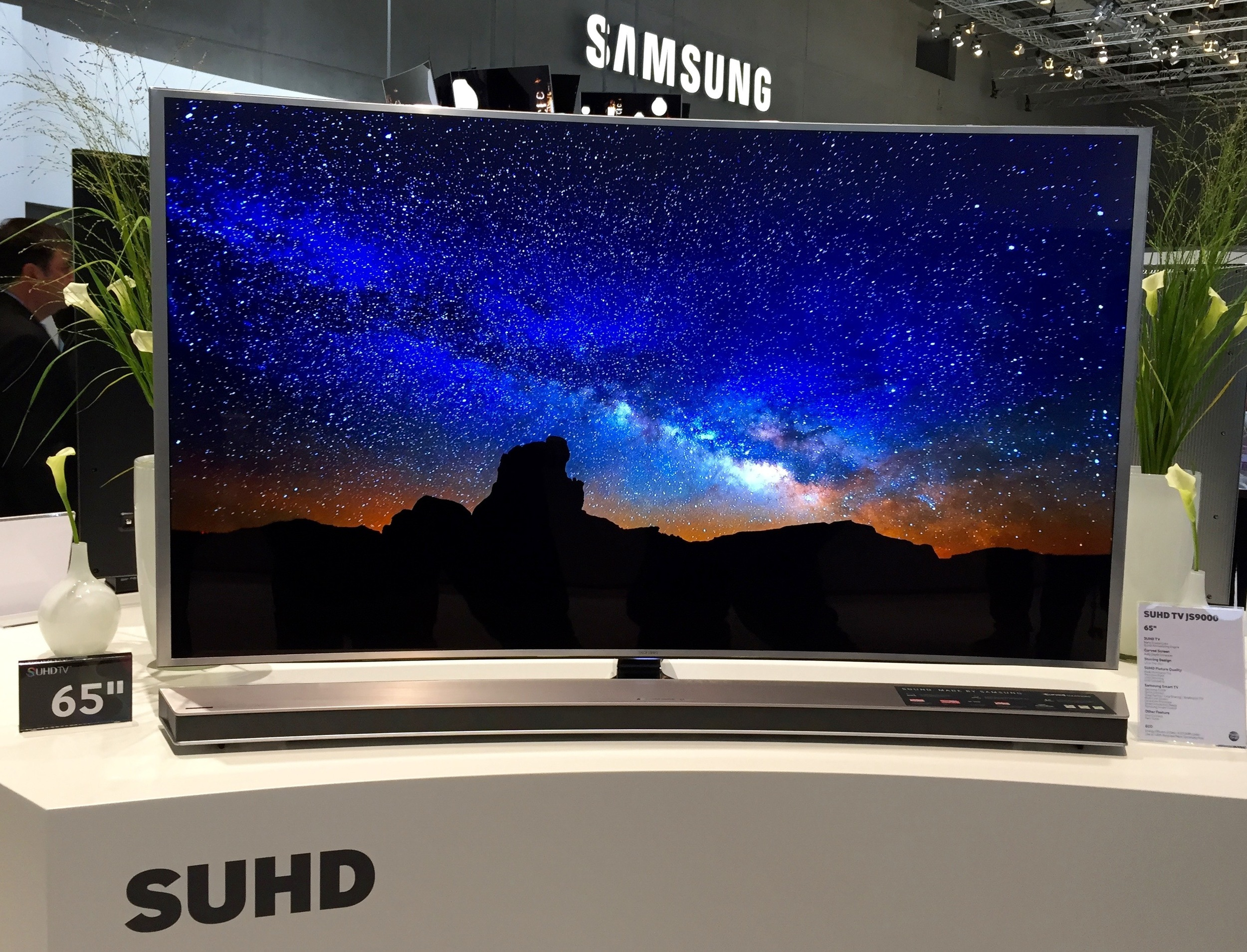 Samsung's flagship SUHD, featuring Quantum Dot technology, hooked up to their new UltraHD Blu-ray player made for an impressive next-generation TV demo at IFA 2015.