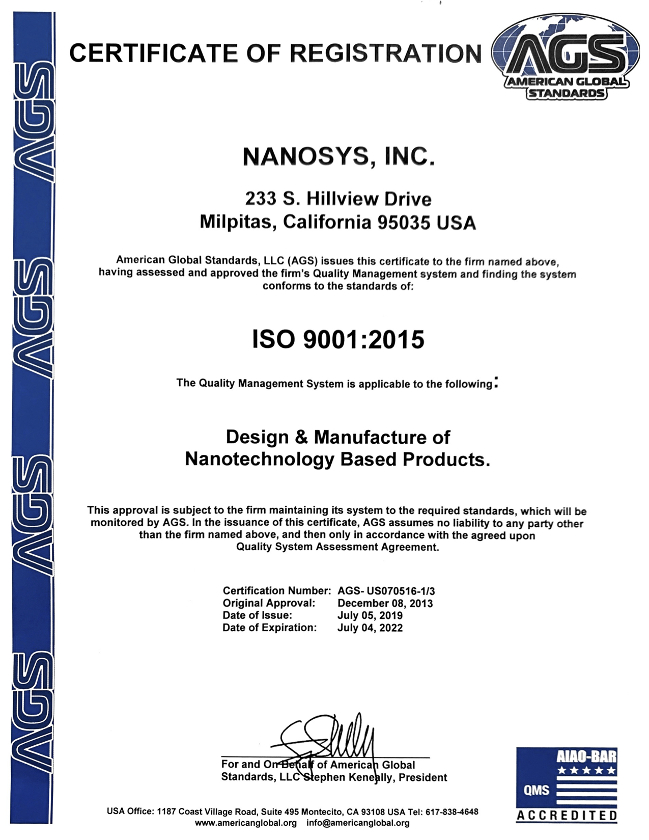Nanosys is an ISO 9001:2015 Certified manufacturer for design and manufacture of nanotechnology based products.