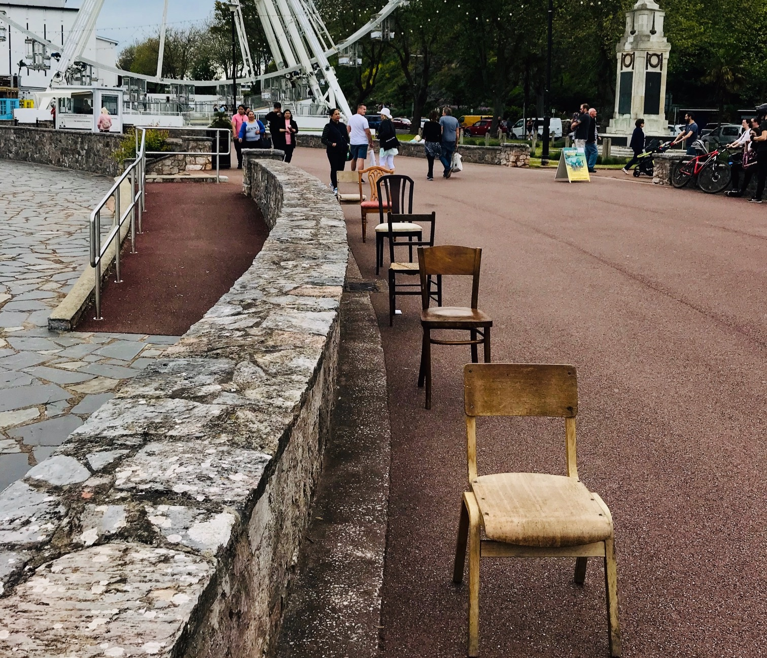 Playing with chairs … setting the scene in Princess Gardens.