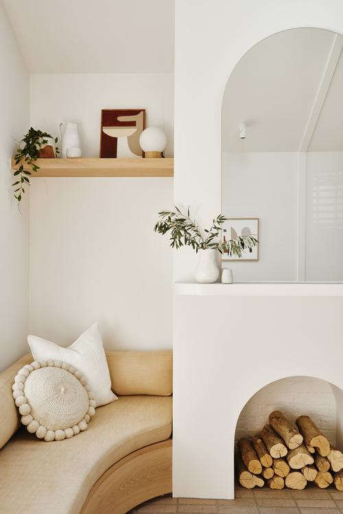 Pampa cushion, Hannah Nowlan art, selection of ceramics. Photography Nikole Ramsay.