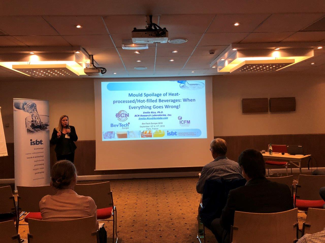 Dr. Emilia Rico presenting at BevTech Europe.