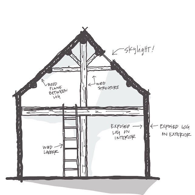 Section sketch of the cabin.